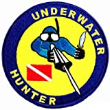 Underwater Hunter Patch Embroidered Iron On Scuba Diving Spearfishing Emblem Souvenir