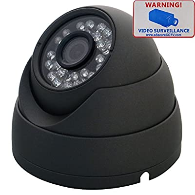 eSecure ES185290 CCTV Camera - 1200TVL Sony IMX238 HD Day Night Vision 3.6mm Lens 24 IR Led Indoor Outdoor Home Security Surveillance Aluminum Dome Camera (Gray)