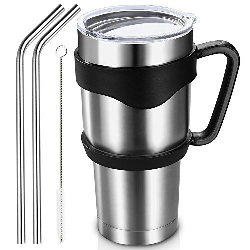 Homitt 30 oz Insulated Tumbler Travel Mug, Double Wall Vacuum Stainless Steel Cup Bundle with Lid, Handle, 2 Curved Straws, Cleaning Brush, (24 Hours Ice Retention) (Coffee Stainless Steel Tumbler compare prices)