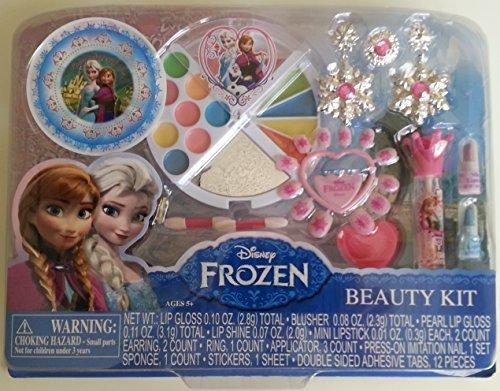 Disney Frozen Makeup & Beauty Kit - Lip gloss, blusher, press-on nails, earring, ring, applicator, & more.