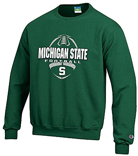 Michigan-State-Spartans-Green-Football-Powerblend-Screened-Crew-Sweatshirt-by-Champion