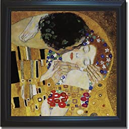 The Kiss (Detail) by Gustave Klimt Premium Satin-Black Framed Canvas (Ready-to-Hang)