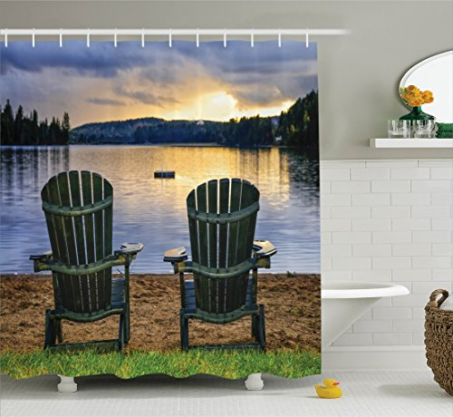 Seaside Decor Shower Curtain Set by Ambesonne, Two Wooden Chairs on Relaxing Lakeside at Sunset. Algonquin Provincial Park, Canada, Bathroom Accessories, 84 Inches Extralong, Navy Green (Canada Shower Curtain compare prices)