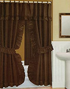 Double Swag Shower Curtain Liner Rings Brown Home
