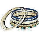 "Set of 13 Jet and Royal Blue Gold-Tone Bangle Bracelets, 2.5"""