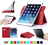 iPad Air2 ケース,Fyy® 高級PUレザーケース スタンド機能付き マグネット開閉式 タッチペンホルダー/伸縮性ハンドストラップ/カードスロット付 360度回転可能 &解体可能タイプ レッド