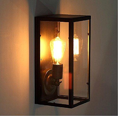 BLYC- American industrial/vintage/square/ristoranti/vetro parete lampada/semplice/hotel/parete applique/illuminazione/E27/220 (v) , glass wall lamp without light