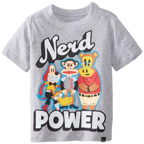 Paul Frank Little Boys' Toddler Nerd Power Tee, Grey Heather, 3T front-632971