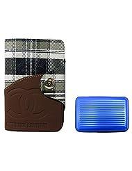Apki Needs Long Tan Mens Wallet & Blue Colored Credit Card Holder Combo