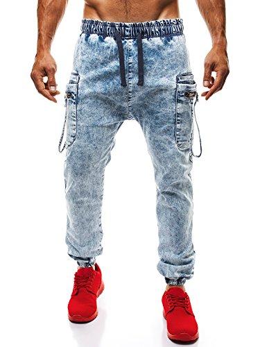 OZONEE Uomo Cascante Jogging Jogger Pantaloni Jeans Taglio Straigh Pantaloni sportivi Jeans Aderenti Jeans Skinny OTANTIK 816 - cotone, celeste_OTANTIK-816, 2% spandex.\n\t\t\t\t 98% cotone 2% spandex, Uomo, M