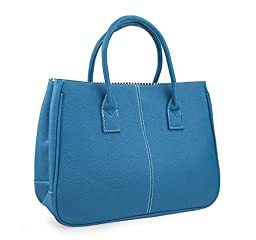 Hoxis Classical Office Lady Minimalist Pebbled Faux Leather Handbag Tote/ Magnetic Snap Purse (Blue)