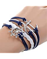 Bracelet rétro tricot gouvernail ancrage Bracelet en Bleu et Blanc