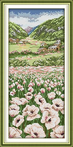 """Good Value Cross Stitch Kits Beginners Kids Advanced -Poppy Fields 11 CT 11""""X22"""", DIY Handmade Needlework Set Cross-Stitching Accurate Stamped Patterns Embroidery Home"""
