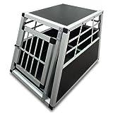 Cage de transport pour chiens - en aluminium et bois - 54 x 69 x 51 cm