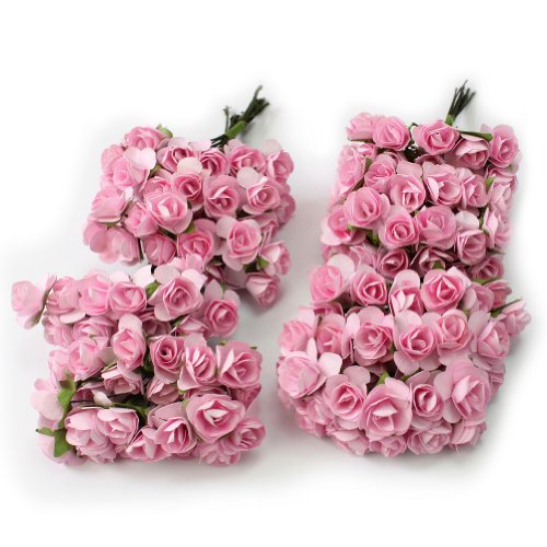 144pc Beautiful Artificial Paper Rose Flower Wedding Card Embellishment - Pink
