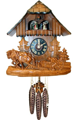 River City Clocks MD439-12 One Day Musical Cuckoo Clock with Dancers, Hand-Carved Horses, And A Logger, 12-Inch Tall