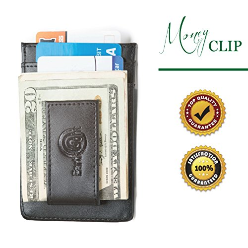 RFID Leather Slim Money Clip Wallet, Minimalist Front Pocket Card Holder, Security Protection, Identity Theft Blocking, Napa Leather, Layered RFID Security Stops Thieves, Bonus E-Book