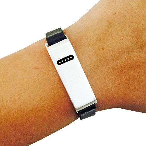 Fitbit Bracelet for Fitbit Flex Fitness Activity Trackers - The KATE INSIGHT Single Strap Plain, Studded or Crystal Studded Brushed Metal and Vegan Leather Buckle Fitbit (Studded Wristband Single)