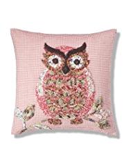 Boho Owl Appliqué Cushion