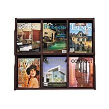 Safco Products Expose 6 Magazine 12 Pamphlet Display, Mahogany/Black, 5703MH