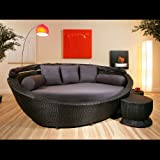 Large Garden Rattan Daybed Black/Grey Cushions,footstools,canopy,cover