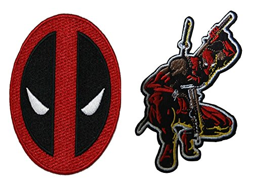 Marvel Comics Deadpool with Swords and Deadpool Logo 2 Set Embroidered Iron On or Sew On Patches