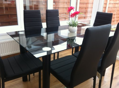 stunning-glass-black-dining-table-set-and-6-faux-leather-chairs