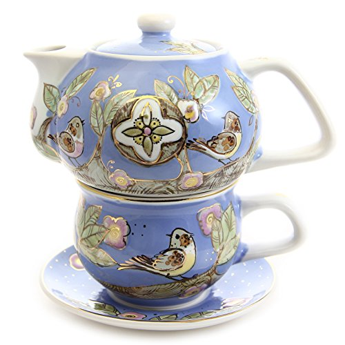 "Porcelain Hand-Painted Tea For One Set ""Birds On Branches"" 11.8/8.1 Ounces ""The House Of Love"" St Elisabeth Convent"