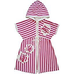 Isobella & Chloe Baby Girls Pink White Stripe Flower Accent Tie Cover Up 18M