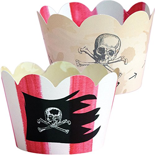 Pirate Theme Cupcake Wrappers, Treasure Map Party Supplies, Confetti Couture, 36 Decorative Wraps