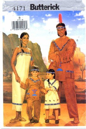 Butterick 4171 Sewing Pattern Childrens Indian Costumes Size 2 - 6X