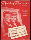 Someday Somewhere sheet music from movie Ten Cents a Dance 1944