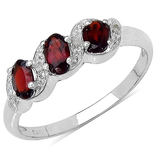 The Garnet Ring Collection: Ladies Sterling Silver Garnet & Diamond Engagement / Eternity Ring with 0.77 Carats Genuine Garnet set with 4 Diamonds (Size N). Comes in a Quality Ring Case for that Special Gift.
