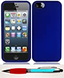 Accessory Factory(TM) Bundle (the item, 2in1 Stylus Point Pen) iPhone 5 5S Rubber Dr. Blue Case Cover Protector