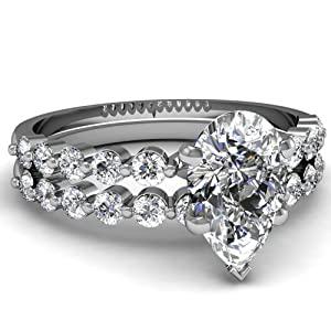 Shimmering Floating Diamond 0.90 Ct Pear Shaped Engagement Bridal Rings Set SI2 14K White Gold Ring Size-5
