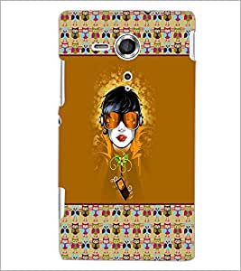 PrintDhaba Girl Face D-5720 Back Case Cover for SONY XPERIA SP (Multi-Coloured)