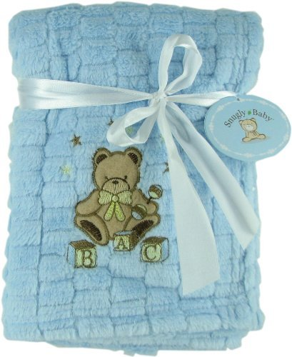 Snugly Baby Blue Fleece Baby Blanket w/ Embroidered Bear - 1