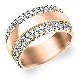 14K Rose Gold 2 Row Diamond Ring (3.0 cttw, F-G Color, VVS1-VVS2 Clarity)