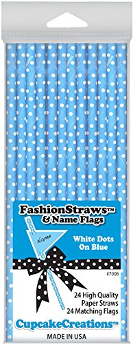 Light Blue with White Dots Paper Straws - 1