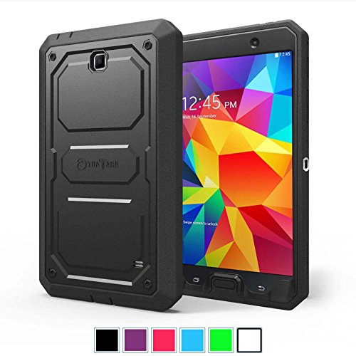 Fintie Samsung Galaxy Tab 4 7.0 Case [CaseBot Tuatara] - Rugged Unibody Dual Layer Hybrid Full Protective Cover with Built-in Screen Protector and Impact Resistant Bumper, Lifetime Warranty, Black