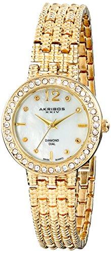 buy Akribos Xxiv Women'S Ak757Yg Lady Diamond Gold-Tone Watch