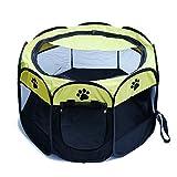 YOUJIA Faltbar Hunde Laufstall Tierlaufstall Für Kleintiere Tragbar Outdoor Welpenlaufstall (Gelb, S) -