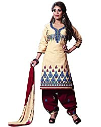 Rudra Textile Women's Cream Cotton Punjabi Suit
