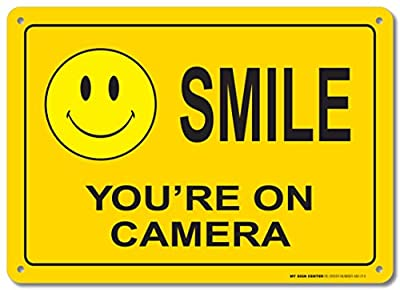 Smile You're On Camera Sign - Made in USA - UV Protected and Weatherproof