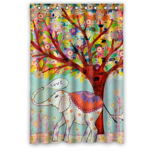 """Elephant Under The Colorful Tree Shower Curtain Size 48""""X 72"""""""