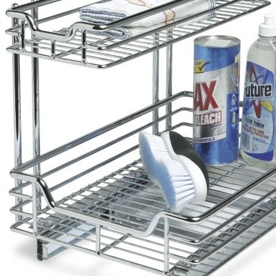 Household Essentials C6512 Two-Tier Sliding Cabinet Organizer, Chrome