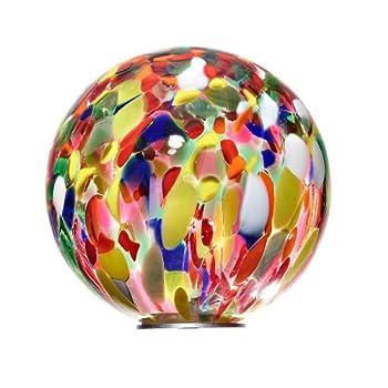 "We are proud to present the Garden Globe, Roseglobe, Glass Globe ""POINT"", blue with multicolor, diameter aprox. Ø 13 cm, decorative ornament, sphere, handblown glass (GardenFlair powered by CRISTALICA)[Garden Globe, Roseglobe]"
