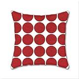 Cotton Linen Throw Pillow, Decorative Pillows.? Mod Dots Red Cotton Linen Square Decorative Throw Pillow Case Cushion Cover 18 x 18 Inch