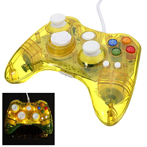 LED Light Yellow Color Wired Controller Joystic Remote For Microsoft Xbox 360 And Windows PC