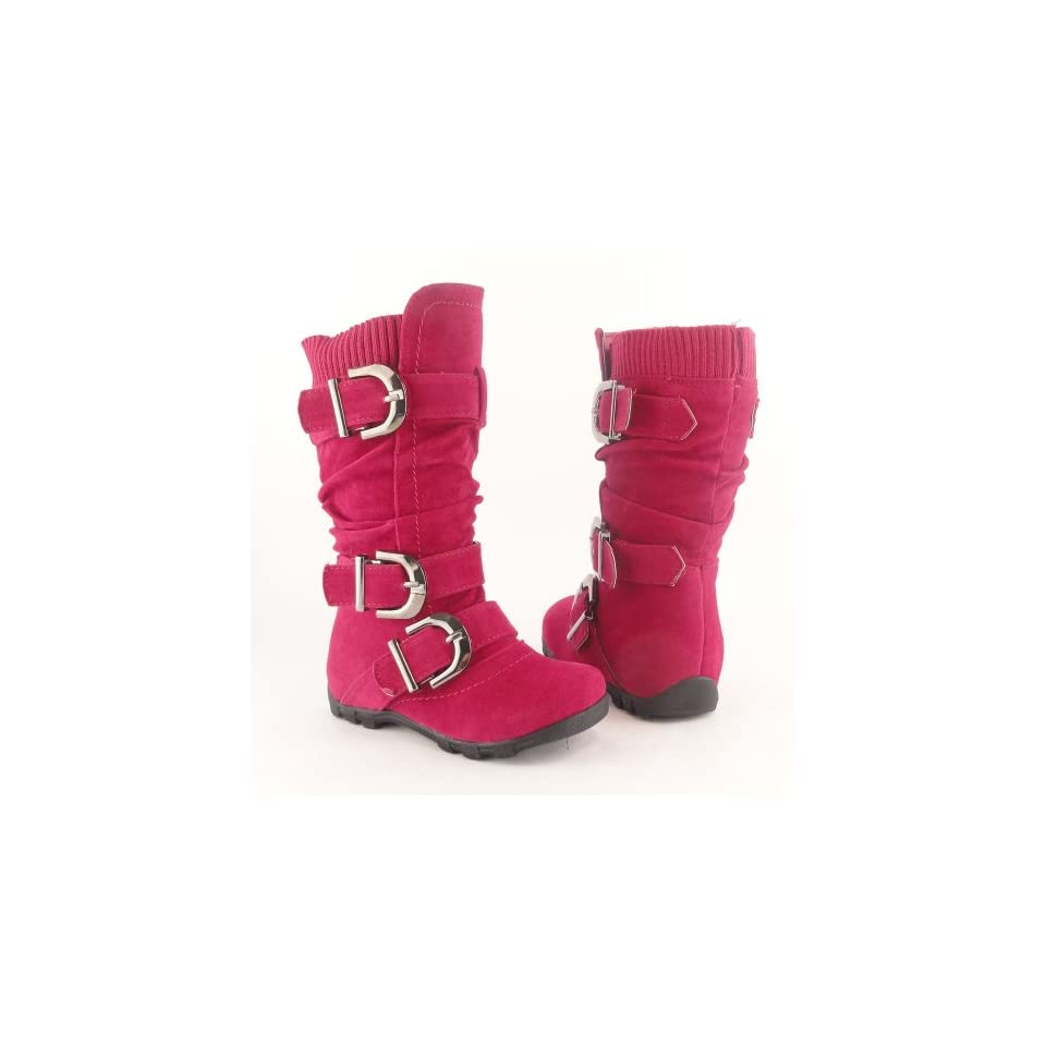 Toddler Youth Girls Faux Suede Knee High Buckle Flat Boots FUCHSIA , 9
